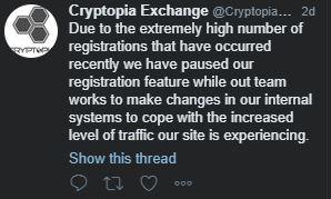 Cryptopia Anmeldestopp