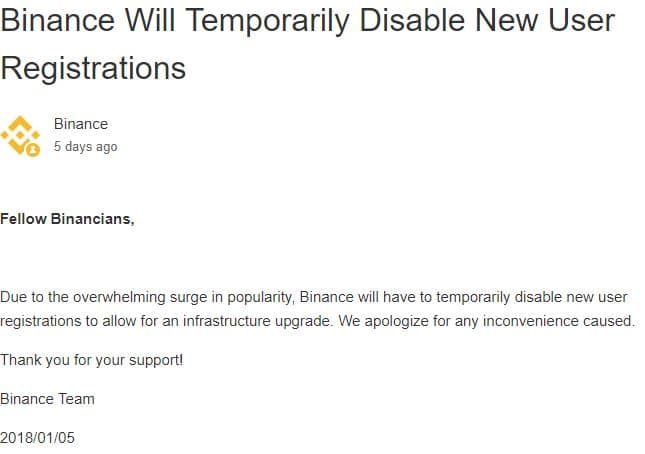 Binance Will Temporarily Disable New User Registrations