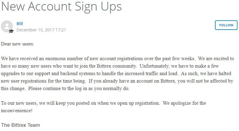 New Account Sign Ups – Bittrex Support